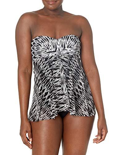 Profile by Gottex Women's Bandeau Flyaway One Piece Swimsuit, Shibori Black/White, 10 -  Profile By Gottex Women's Swimwear, E8562045-002-40