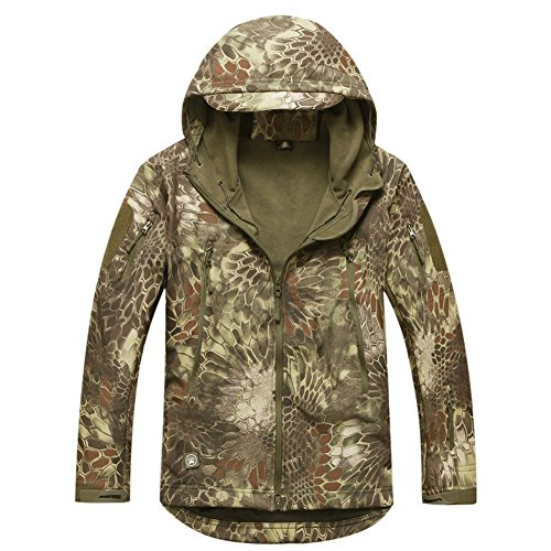 REEBOW GEAR Militaer Taktische Softshell Jacke Outdoor Fleece Kapuzenjacke Hochland Camo 2XL
