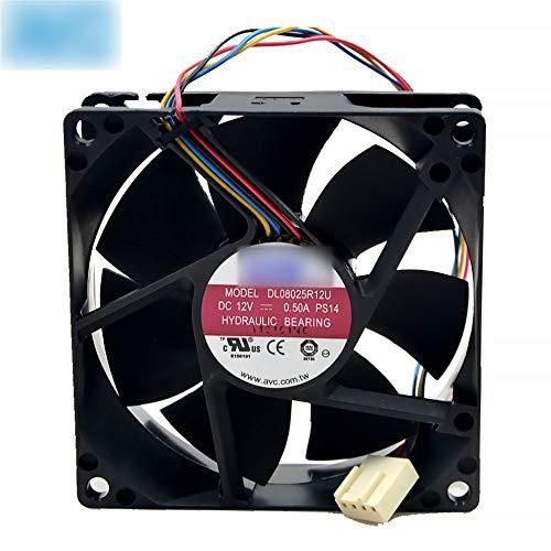 OLDJTK For AVC 8025 Ventilador 80mm x 80 mm x 25 mm DL08025R12U Rodamiento hidráulico PWM refrigerador Fan de enfriamiento 12V 0.50A 4Wire Conector 4Pin