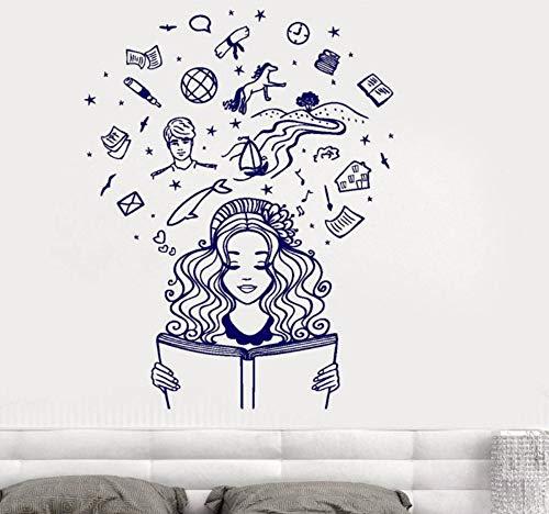 Zjxxm Parete In Vinile Adesivo Ragazza Che Legge Un Libro Immaginazione Fantasy Fiaba Romantico Wall Sticker Per Camera Da Letto Soggiorno Casa L940 57 * 73 Cm