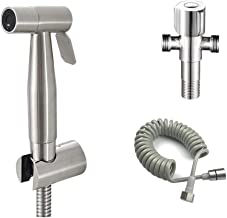 JXWWN Toilet Hand Held Bidet Sprayer Kit Stainless Steel Chrome Plated Bathroom Bidet Faucet Spray Shower Head with Hose & Adapter & Holder,B