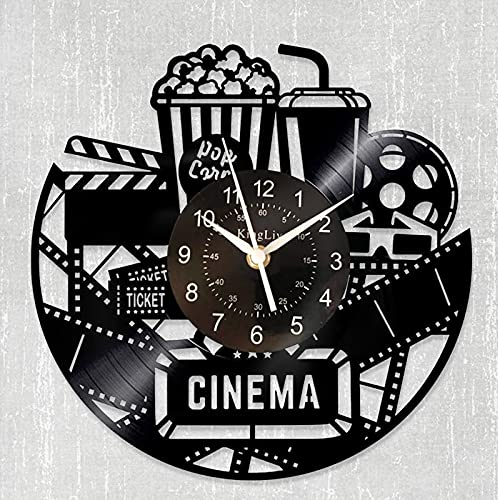 Home Theater Cinema and Popcorn Vinyl Record Wall Clock Movie Film Time Clock Watch Room Wall Home...