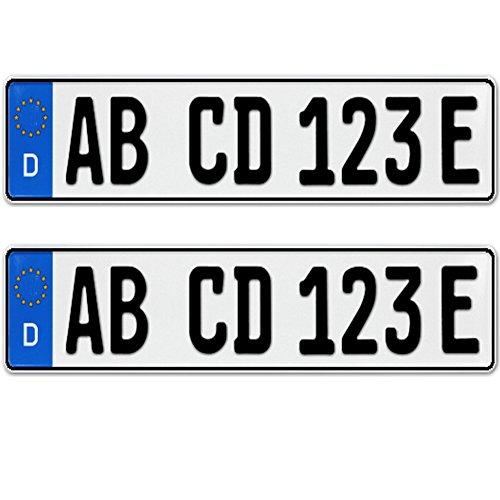 2 Stück EU KFZ Nummernschilder E Kennzeichen für Elektroauto & Plug-in-Hybride mit individueller Prägung nach Ihren Vorgaben + KFZ Schein Schutzhülle