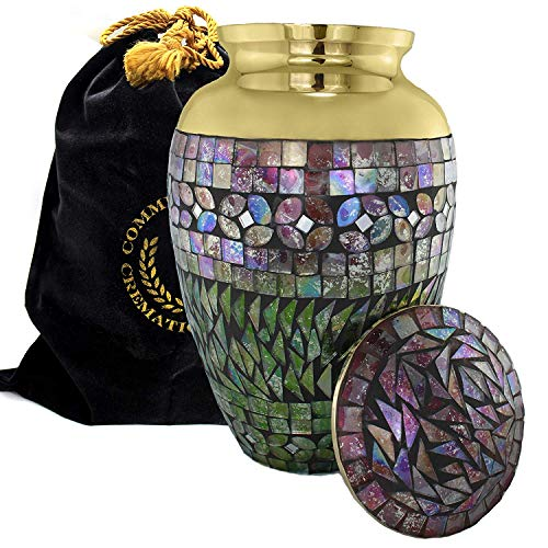 Iridescent Mosaic Cracked Glass Cremation Urn