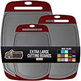 Gorilla Grip Original Oversized Cutting Board, 3 Piece, Juice Grooves, Larger Thicker Boards, Easy Grip Handle, Perfect for the Dishwasher, Non Porous, Extra Large, Kitchen, Set of 3, Red Gray