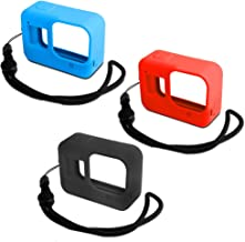 Silicone Protective Case for Hero 8 Action Camera, AFUNTA 3 Pcs Soft Silicone Cover with Lanyard for Go Pro Hero 8 Camera Scratch Prevention Anti-Fall - Black/Blue/Red