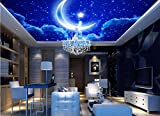 Extra Large Wall Murals Sky Ceiling Wallpaper Star Moon Mural Wallpaper For Wall Nonwovens 3d Ceiling Wallpaper Background Decor-300 * 210cm