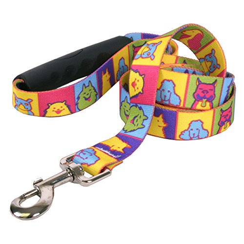 Yellow Dog Design Pop Art Dogs EZ-Grip Dog Leash with Comfort Handle, Small/Medium-3/4