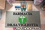 ZERBINO DA ESTERNO PERSONALIZZATO FARMACIA STUDIO PVC COCCO GOMMA CM. 100x60 SPAZZOLA ASCIUGA SPORCO LOVEDOORMAT  HANDMADE IN ITALY