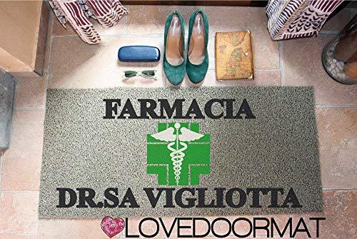 ZERBINO DA ESTERNO PERSONALIZZATO FARMACIA STUDIO PVC COCCO GOMMA CM. 100x60 SPAZZOLA ASCIUGA SPORCO LOVEDOORMAT ® HANDMADE IN ITALY