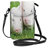 Women Small Cell Phone Purse Crossbody,Two Young Baby Piglet On Green Grass Pig Farm Animal Barn Husbandry Agriculture