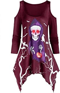 Women Halloween Plus Size Blouses Cold Shoulder Long Sleeve Skull Ghost Print Tops