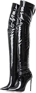 Women's Over The Knee Boots High Heels Zipper PU Leather Thigh High Boot
