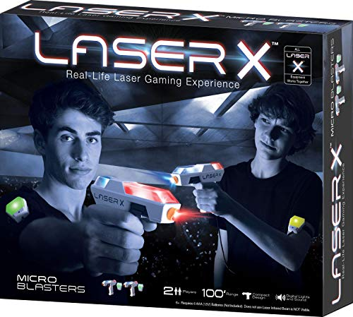 Laser X Two Player Laser Gaming Set, Multi, 2 Laser Units with 2 Arms Receivers 100' Range