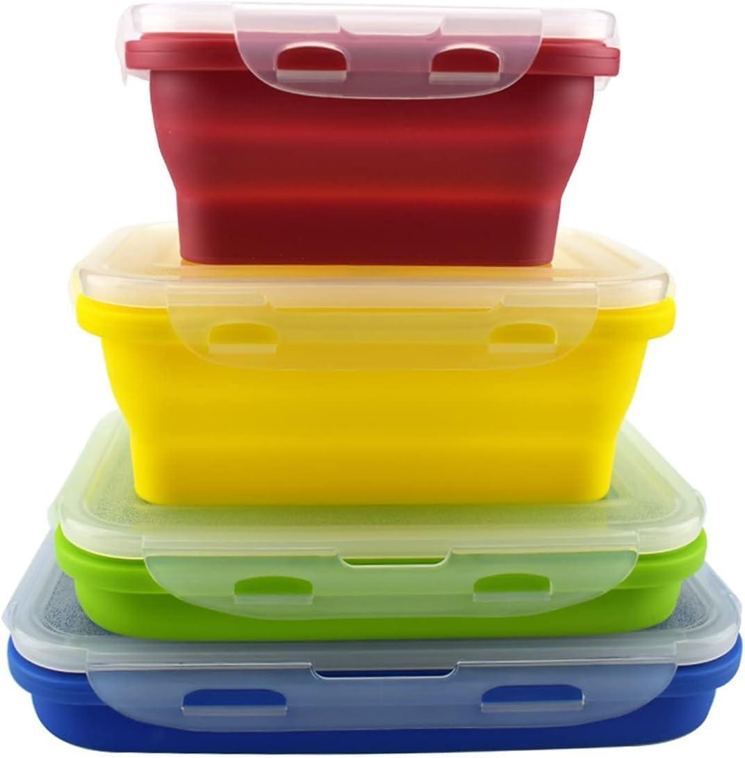 Lounaya - Fiambrera plegable de silicona para alimentos, 4 unidades, soporte plegable, de silicona, multicolor, multicolor