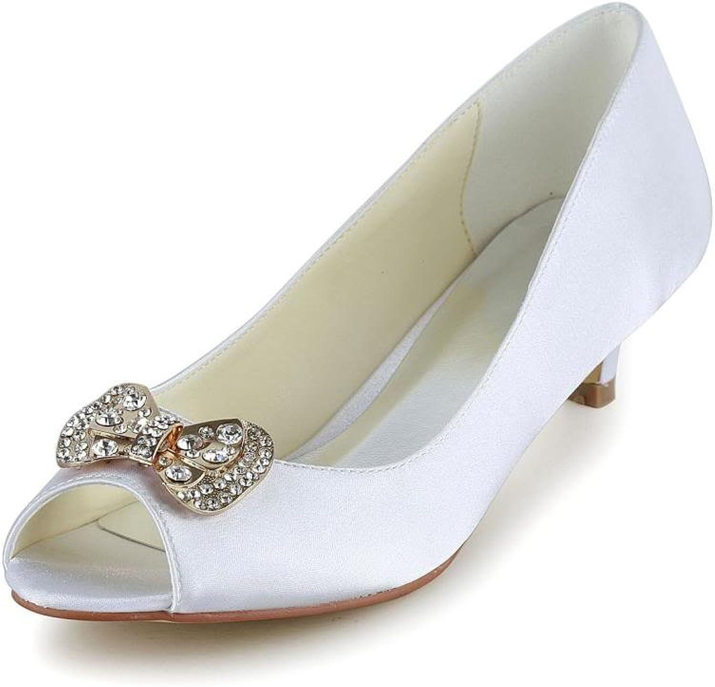 Jia Jia Women's Bridal 0116 Peep Toe Hight Heel Satin Wedding shoes