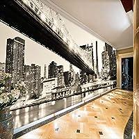 HGFHGD ホーム改善3D壁画ウォールステッカー黒と白の都市橋の風景写真の壁紙オフィスのリビングルームの壁紙