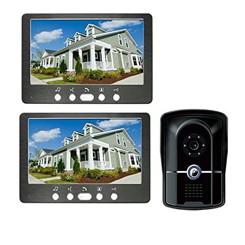 DNAMAZ Portero Video Towebell para la casa privada Videophones Interphone 1 a 2 monitores Kits Opción 7'Pantalla de Color Teléfono de la Puerta de la casa automatico (Color : 815FG12)