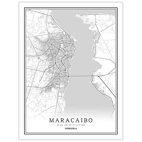 Canvas Print Painting,Abstract Creative Black And White City Map Canvas Wall Art Prints Modern,Maracaibo,City Line Map For Reading Room Living Room Kids' Room Wall Decor,1318Cm (57Inch)199