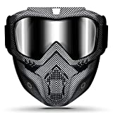 3. Motorcycle Helmet Riding Goggles Glasses With Removable Face Mask,Detachable Fog-proof Warm Goggles Mouth Filter Adjustable Non-slip Strap Vintage Bullet Fight Motocross