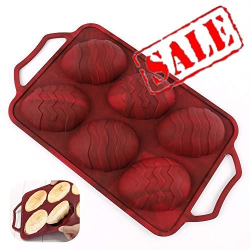 Silikon Ostern Ei Backform - KeepingcooX 6 Hohlraum Silikon Osterei Backform - Kuchen Brötchen Cupcake, Muffin Form mit Griffen, Stahlrahmen Anti-Verformung, Antihaft, Top-Qualität