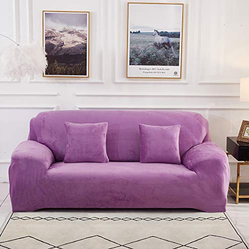 Sinoeem Sofa Covers 1/2/3/4 Seater (Free 2 pillow cases) Pure Color Sofa Slipcovers Protector Velvet Easy Fit Elastic Fabric Stretch Machine Washable Couch Slipcover (2 Seater:145-185cm, Sofa-Purple)