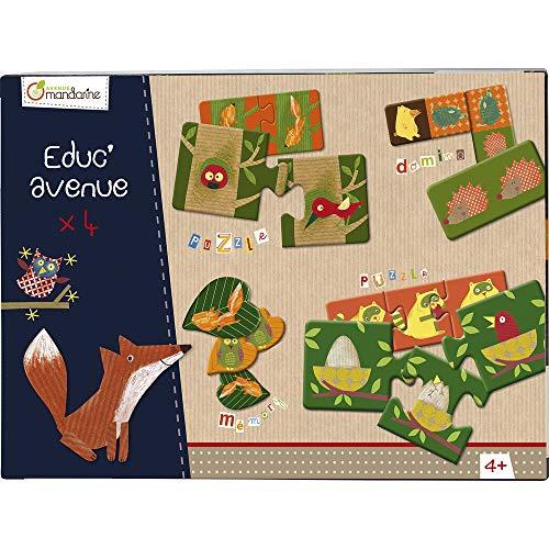 Avenue Mandarine 42812O - Une boite Educ'Avenue Forêt comprenant un Mémo 32 pièces, 10 puzzles 2 pièces, 8 puzzles 3 pièces et un Domino 28 pièces