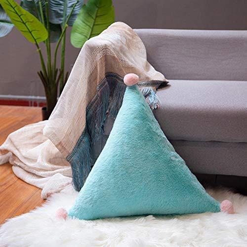 50Cm Piel de Conejo Sala de Estar Sofá Decoración Almohada Decoración Textiles para el hogar Tienda Modelo Habitación Cama Decoración-Verde Menta Triángulo_50Cm.(Extraíble y Lavable)