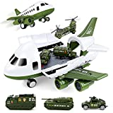 UNIH Airplane Toys Set, Transport Cargo Airplane and 6PCS Mini Army Vehicles, Military Vehicle Play Set Birthday Gift for Kids Toddlers Boys 3 4 5 6 Years Old