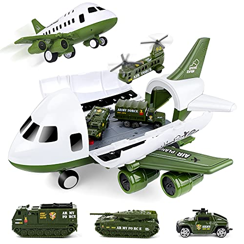 UNIH Airplane Toys Set, Transport Cargo Airplane and 6PCS Mini Army...