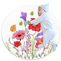 エリアラグ軽量 コーンポピー色の花の春 フロアマットソフトカーペット直径39.4インチホームリビングダイニングルームベッドルーム