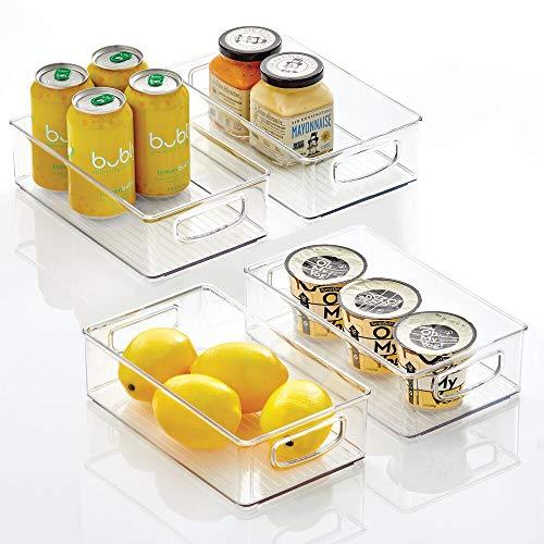 "mDesign Plastic Kitchen Pantry Cabinet Refrigerator or Freezer Food Storage Bins with Handles - Organizer for Fruit Yogurt Snacks Pasta - Food Safe BPA Free 10"" Long - 4 Pack Clear"