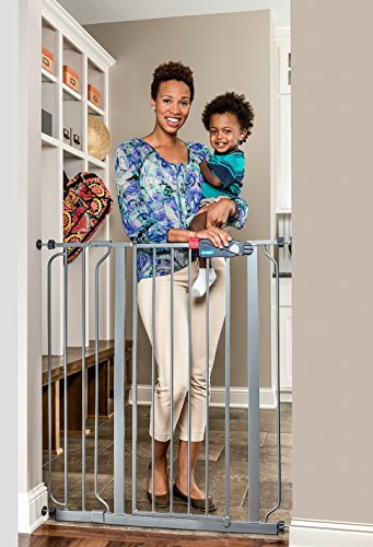 Regalo Easy Step Extra Tall Metal Walk Thru Baby Gate Safety gate, Platinum