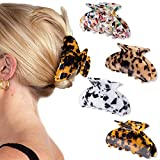 Magicsky 4PCS Banana Hair Claw Clips, French Design Tortoise Barrettes Clamps, Acrylic Celluloid Butterfly Jaw Clips, Large Leopard Print Hair Accessories for Women Girls with Thick Hair - Marble