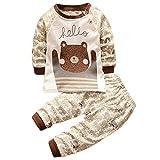 Hengsong Ours Grizzly Impression Garçons Filles Coton Pyjama Bébé Four Seasons sous-vêtements Ensembles Enfants (90cm)