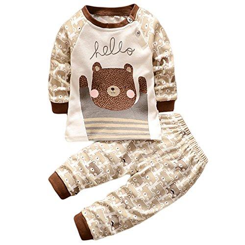 Hengsong Ours Grizzly Impression Garçons Filles Coton Pyjama Bébé Four Seasons sous-vêtements Ensembles Enfants (110cm)
