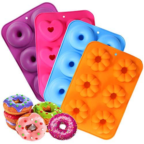 DMAIPUK Silikon Donut Formen, Runde, Herzförmig und Blumen-Donut-Formen Backform, 4 Stück, antihaftbeschichtet, 260 Grad Wärmebeständigkei, ideal für Kekse, Bagels, Muffins (6 Hohlräume)