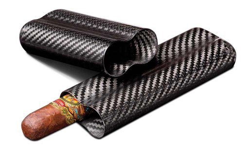 Visol Products VCASE499 Night' Real Carbon Fiber Cigar Case