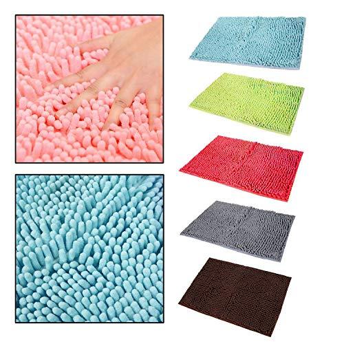 Agomike 40x60 cm de Gran tamaño de Color sólido Microfibra Chenilla baño Alfombra del Piso Antideslizante Cocina baño Alfombra del Piso Felpudo