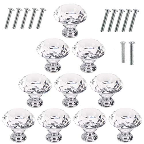 Akstore 10 Pcs Crystal Glass Cabinet Knobs 30mm Diamond Shape Drawer Kitchen Cabinets Dresser Cupboard Wardrobe Pulls Handles (Clear)