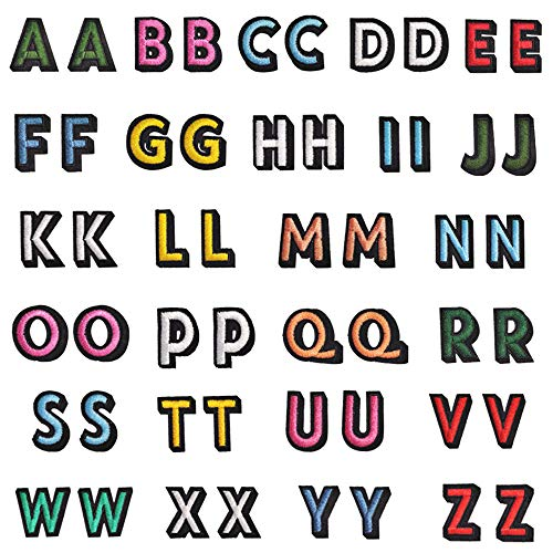 Zasiene Patch di Lettere 52 Pezzi Lettere di Ricamo Patch Applique Patch Lettera con Bordo Nero Lettere Adesive per Tessuto A-Z per Fai Da Te Riparazione Cucire Toppe Decorazione Artigianale