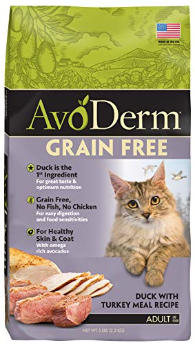 Avoderm Natural Grain-Free Dry Cat Food, All Life Stages Duck Recipe, 5 Lb Bag