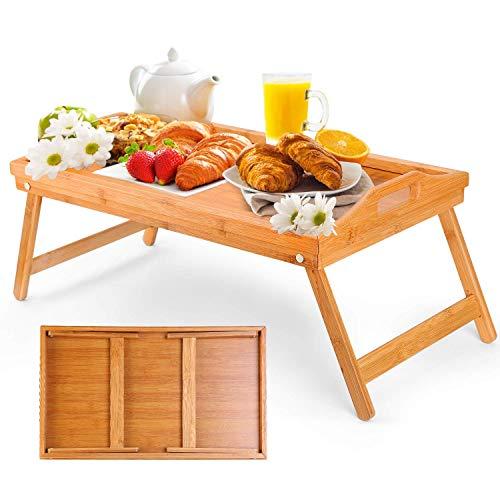 Minterest ローテーブル 折りたたみ ベットトレイ 天然竹 朝食テーブル ベッドテーブル コーヒーテーブル 高さ0-21cm 高さ調節可能収納付き 省スペース