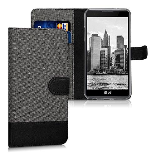 Preisvergleich Produktbild kwmobile Hülle kompatibel mit LG X Power - Kunstleder Wallet Case mit Kartenfächern Stand in Grau Schwarz