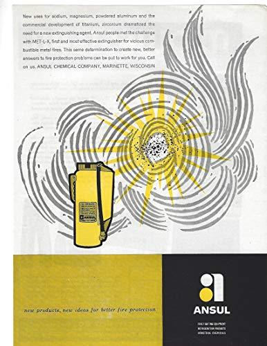 1960 Original Magazine Print Ad #2 Ansul Fire Extinguisher PURPLE K MET-L-X