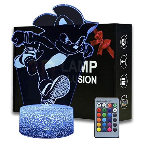 Magiclux - Sonic El Erizo 3d Ilusión Luz Nocturna Plástico Lámpara De Mesa De Dibujos Animados Con Mando A Distancia 16 Colores Cambian