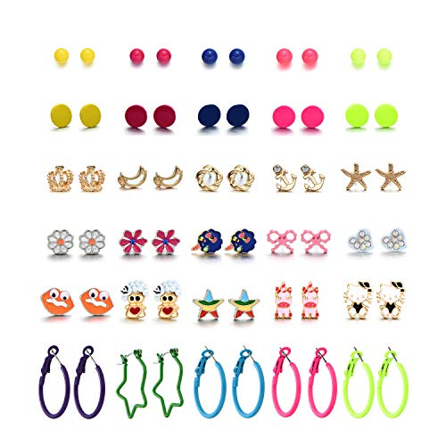 30 paia anallergici set orecchini per bambina ragazza perle Animale gatto stella Palla Cuore (30 paia orecchini bambina)