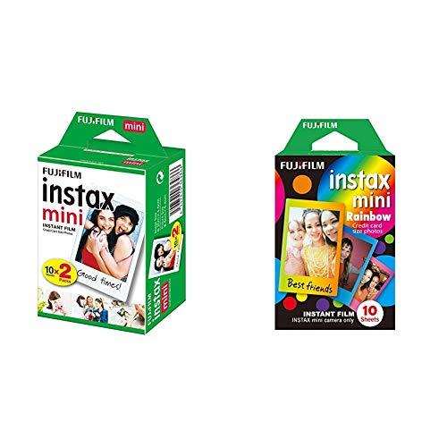 Fujifilm Instax Mini Instant Film, 2X 10 Blatt (20 Blatt), Weiß & Mini Frame WW1 Rainbow, Bunt
