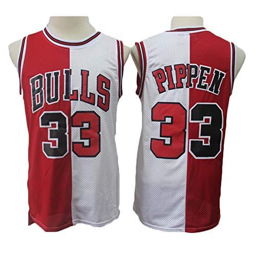 LDFN Jersey Baloncesto Camiseta De Baloncesto Masculino, 33# Scottie Pippen ChicagoBulls Costura Bicolor del Ventilador Jersey, Camisa Deportiva De Secado Rápido XS-XXL (Color : A, Size : XS)