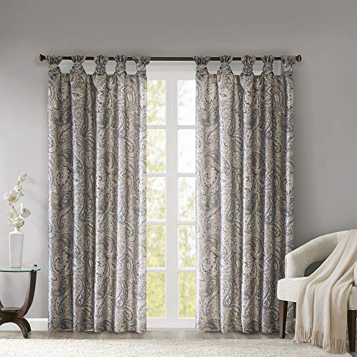 """Madison Park Yvette Twist Tab Paisley Printed Curtain Panel Window Treatment Drapes for Bedroom Living Room and Dorm, 50""""X84"""", Taupe"""